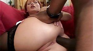 Nasty redhead MILF blows big insidious cock