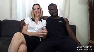 Casting couch french mature nurturer hard DP by white and black dicks