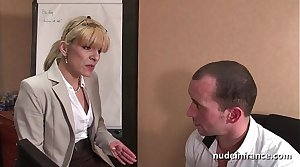 Amateur full-grown blonde anal fucked hard at office