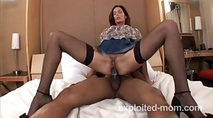 Hot amateur milf banging coal-black cock in Of age Pussy Video