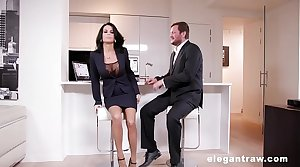 Extremly hot milf gets anally destroyed after a business election