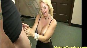 Classy tugging milf with massive tits pov