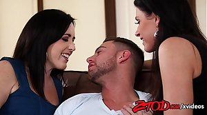 India Summer in cougar threesome fuck fun