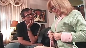 Glum blonde MILF with fat tits seduced