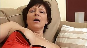 Old woman In Fishnet Stockings Hardcore Chaise longue Fuck