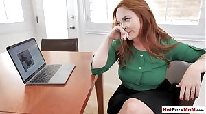 Busty redhead MILF stepmother plays a cutting game