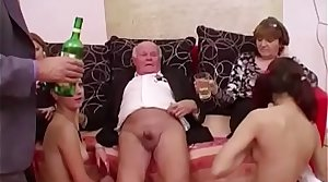 Young girls dance be useful to grandpa before suck his cock
