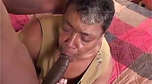 Ebony grandma loves big swart cock