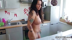Step-Son Malodorous German Mom naked connected with Kitchen and Charge from her