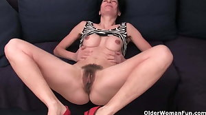 Hairy granny has a wet word in her panties