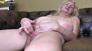 Naughty granny playing with her soft pussy