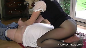 Smothered round pantyhose with the addition of nylon handjob