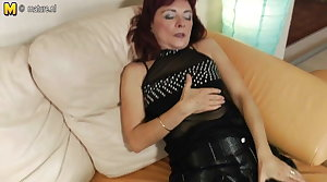 Redhead granny loves close to work her hairy pussy