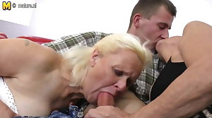 Two grandmas enjoy a big cock in troika