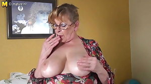 Unprofessional granny with big chest and hungry pussy