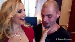 Busty Julia Ann Fucks Her Husband plus His Affiliate Big Cocks!