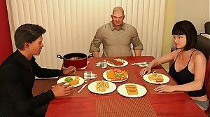 Cenando en Familia Send off Mi Hijo y Su Hermosa Esposa Caliente
