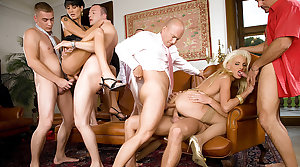 Two Horny MILFs Get All Their Holes Unshaky a DP Gangbang